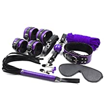 Pure Cell 8pcs SET Under the Bed Restraint System Bondage Kit S&M Flirting Stimulation Pleasure Love Game, Including Wrist Cuff/Handcuffs, Nipple Clamp Bell, Whip, Blindfold, Rope, Neck Collar, Mouth Gag