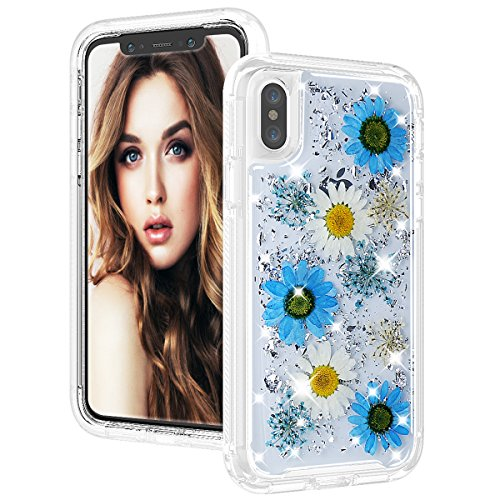 SUMOON Real Flower Case for iPhone Xs/iPhone X, Dry Flower Floral Dried Pressed Design, Hybrid Full Body Rugged Bumper Shockproof Shell Back Case Anti-Scratch Cover for iPhone Xs/X 5.8 Inch (Blue) (Flower Petal Design Knob)