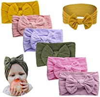 Arstna Baby Girl Headbands and Baby Bows, Hair Accessories for Girls The Essentials Set (6 mix color, Jacquard nylon)