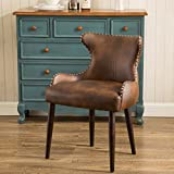 Roundhill Furniture AC181BR Viking Tufted Button Back Barrel Chair with Nailhead, Brown, Single