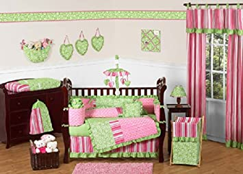 Amazoncom Sweet Jojo Designs 9 Piece Funky Pink And Lime Green