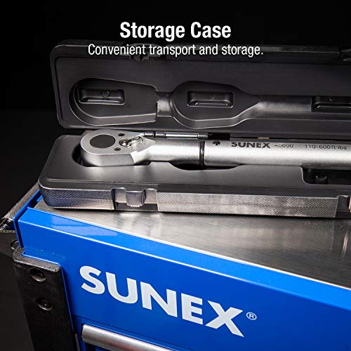 Sunex 40600, ¾'' Drive, 48T Torque Wrench, 110 To 600'-Lb, 48 Tooth Ratcheting Mechanism, Accurate To 3% Clockwise & 6% Counterclockwise, Audible Click, Heat Treated Tube, Aluminum Handle by Sunex Tools (Image #4)