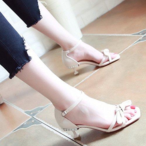 YMFIE En Verano el Nuevo señoras Son Huecas y Delgadas con el Diamante Zapatos de Mariposas. Rice white