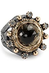 BORA Smoky Quartz Crown Ring, Size 7