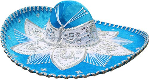 Authentic Mariachi Flowers Style Hat Fancy Premium Mexican Sombrero Charro Hats Made in Mexico (Choose Size & Color) (Adult Men, Light Blue) for $<!--$53.95-->
