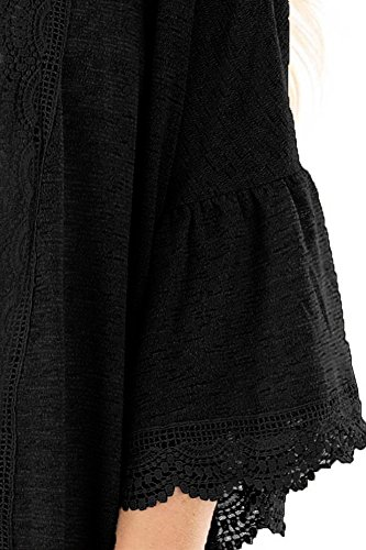 Chunoy Women Casual Spring Kimono Bell Sleeve Hollow Out Lace Short Cardigan Black X-Large by Chunoy (Image #4)