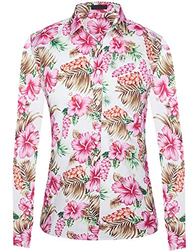 (DOKKIA Women's Tops Tropical Casual Blouses Long Sleeve Work Button Dress Beach Aloha Hawaiian Shirts (Red Green White Hibiscus, Medium))
