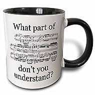 3dRose 3dRose The Musician's Music - Two Tone Black Mug, 11oz (mug_112161_4), , Black/White