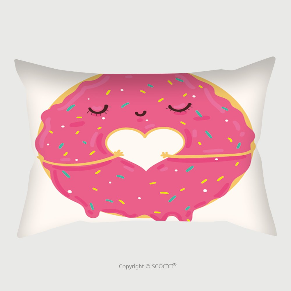 Custom Satin Pillowcase Protector Vector Illustration Of Cute Pink Cartoon Donut With Heart And Face Can Be Used For Valentine S Day 552816259 Pillow Case Covers Decorative