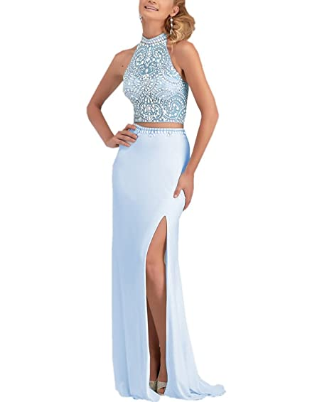 AngelCity Brides Two Piece Beaded Top Prom Dresses Split Side Evening Dresses 2017