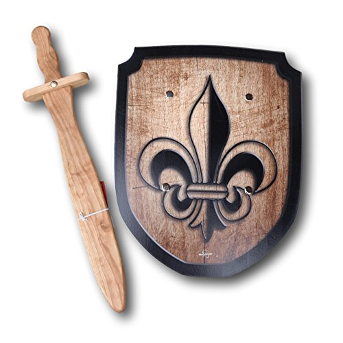 [Wooden Sword and Fleur de Lis Shield Set] (Womens Three Musketeers Costumes)