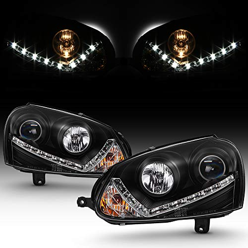 For 2006-09 Volkswagen GTI/Jetta/Rabbit LED Daytime Running Lamp Bar Projector Headlights Black Housing Clear Lens ()