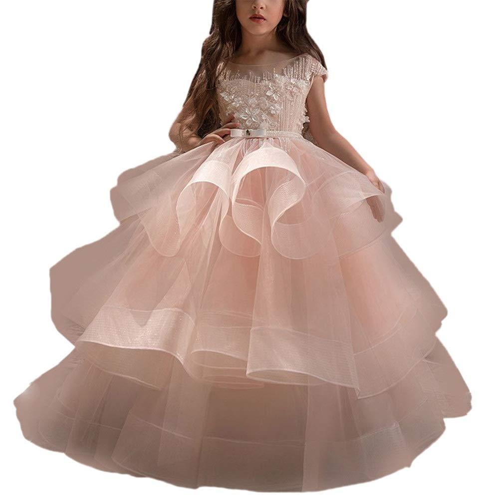 160cm Asdflina Robe de Fille de Fleur Rose sans Manches pour Fille d'anniversaire Show animée organisée Robe Longue soufflée VêteHommests de Danse pour Occasions spéciales (Taille   120cm)