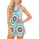 Relipop Fashion Women's Summer Floral Print Sleeveless Romper Casual Jumpsuit (Medium, Blue)