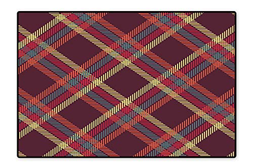 Perfect Kitchen Rugs Geometric Diagonal Tartan Plain Checked Pattern Traditional British Striped Design Color for Home and Office 4'x5'