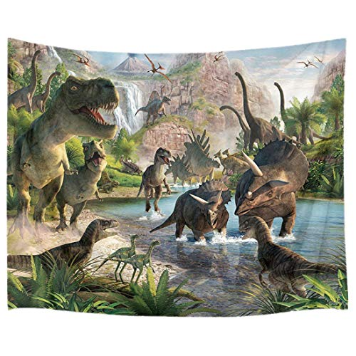 HVEST Dinosaur Tapestry Wild Anicient Predator by The River Wall Hanging Tropical Forest with Green Trees and Mountain Wall Blanket for Bedroom Living Room Dorm Decor,60Wx40H inches