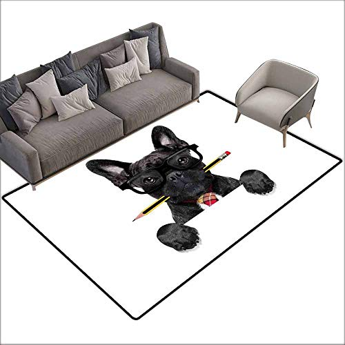 Floor Mat Entrance Doormat Bulldog,Businessman Black Dog with Glasses and Pencil in His Mouth Office Manager Boss,Multicolor 36