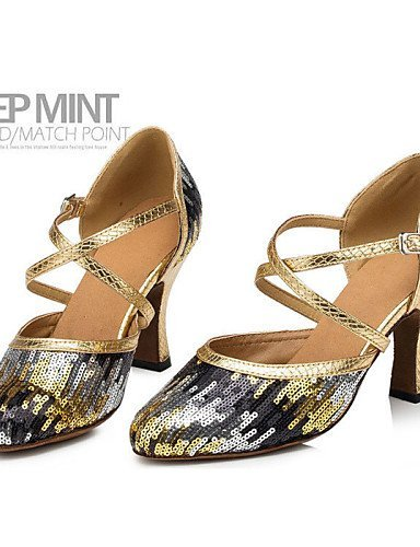 Customizable Non Women's Shoes ShangYi Flocking Latin Dance Stiletto Heel Gold Gold 7Ewdd5q