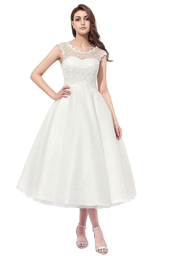 Xswpl Elegant Sleeveless Polka Dots Tea Length Wedding Dress For