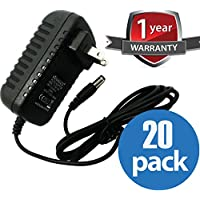ventech (20 Pack) 18 Watt Max Power Adapter - 110V AC to 12V DC, 1.5A - (LED Light Strip Transformer, security cameras)