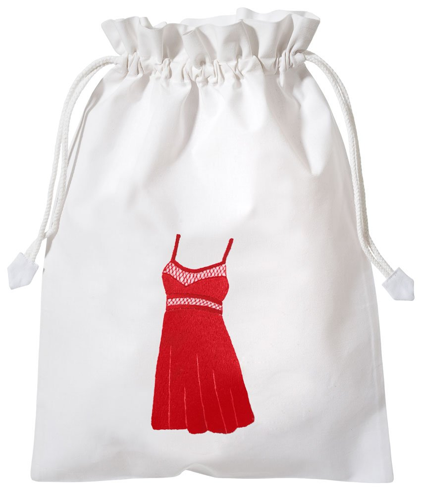 Hand Embroidered Cotton Lingerie Travel Organizing Laundry Bag (Red Chemise)