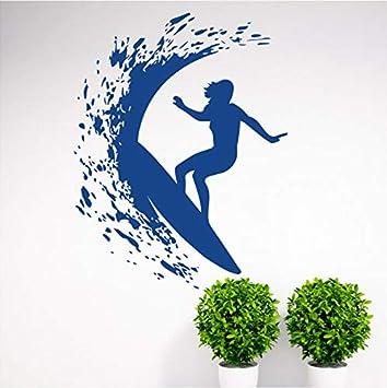 Wuyyii Serie De Deportes Extremos Tatuajes De Pared Chica Surfista Surfeando En El Mar Con Tabla De Surf Murales Etiqueta De La Pared En Casa Decoración ...