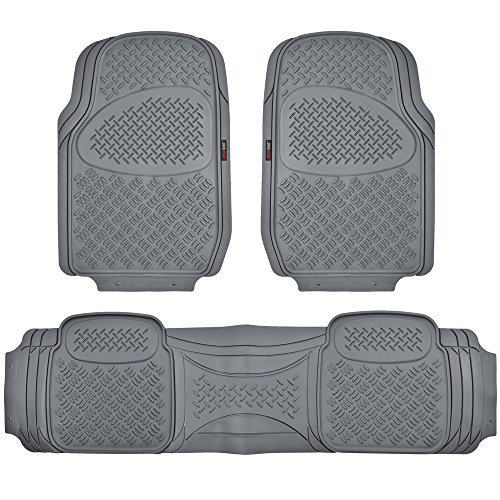 Motor Trend HD FlexTough Rubber Floor Mats for Car Truck SUV & Van - 100% Odorless & Super Heavy Duty (Gray) - MT813GRAMw1