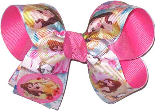 DS-249M Medium Beauty and the Beast Belle and Mrs Potts Double Layer Overlay Bow