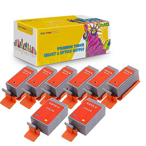 New York TonerTM New Compatible 8 Pack 6 BCI-15B Black 2 BCI-15C Color High Yield Inkjet For Canon - i70 | i80 . -- Black Color