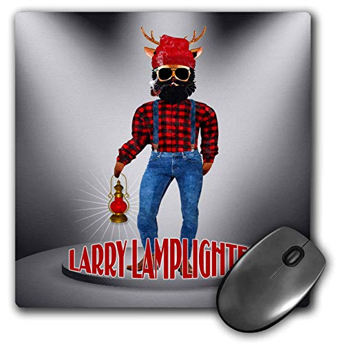 3dRose Doreen Erhardt Christmas Collection - Funny Bearded Reindeer in Red Flannel Larry Lamplighter - Mousepad (mp_290915_1) ()