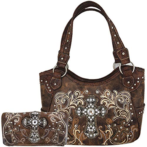 Western Style Rhinestone Cross Totes Purse Concealed Carry Handbags Women Country Shoulder Bag Wallet Set (Brown Set)