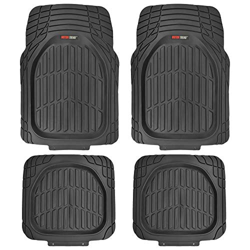 - Motor Trend MT-921-BK FlexTough Tortoise - Heavy Duty Rubber Floor Mats for Car SUV Van & Truck - All Weather Protection - Deep Dish (Black)