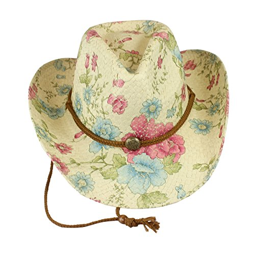 Flowered Cowgirl Hat Environmentally Friendly Paper Straw, Pink and Blue