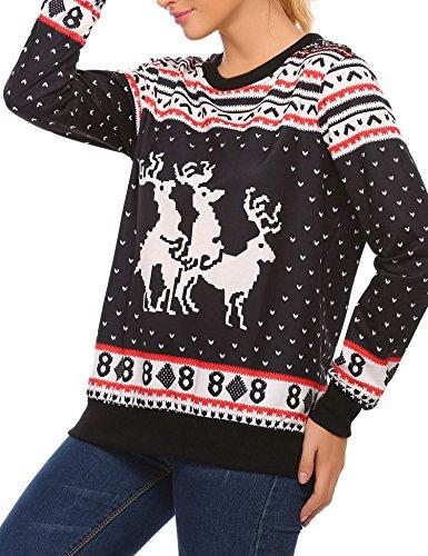jingjing1 Christmas Ugly Sweatshirt Women Reindeer Roll Neck Pullover Cosmic Sweaters Tops