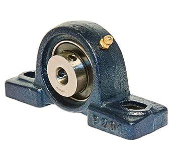 UCP201 Pillow Block Mounted Bearing, 2 Bolt, 12mm Inside Diameter, Set screw Lock, Cast Iron, Metric