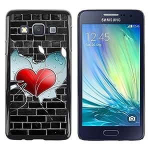 LECELL -- Funda protectora / Cubierta / Piel For Samsung Galaxy A3 SM-A300 -- Wall Heart --