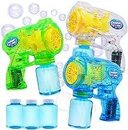 JOYIN 3 Bubble Guns Blaster Kit Automatic Bubble Maker Blower Machine with 3 Bubble Solutions for Kids, Bubble