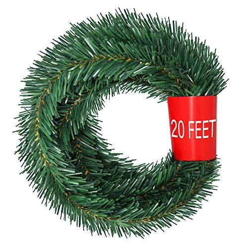 TINGOR 20 Feet Ties Indoor/Outdoor Window Door Ornament Flexible Green Fir Hanging Artificial Vine Garland for Christmas Decor Holidays Wedding