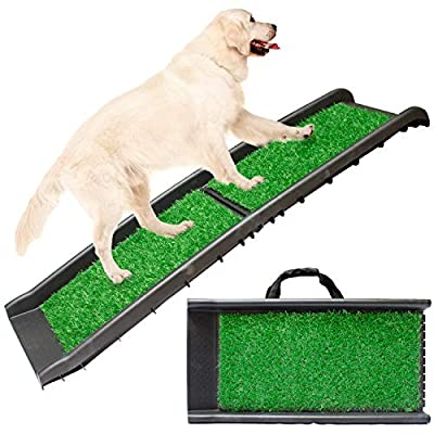 Downtown Pet Supply Dog Foldable Pet Stairs or Ramp for Small and Large Dogs Fits Most Trucks and SUVs (Grass Turf Ramp, Rubber Grip Ramp, Foldable Stairs)