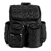 MEDIUM Diaper Backpack with Stroller Straps, Wet Bag and Diaper Changing Pad – Baby Diaper Bag For Women and Men by Wallaroo - 25 Liter Capacity - BLACK