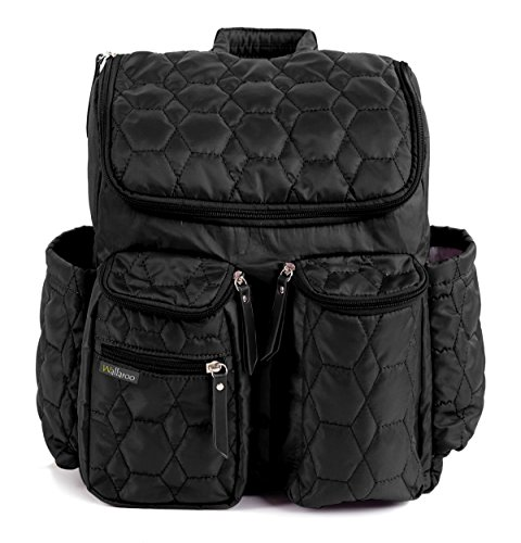 Diaper Backpack By Wallaroo – with Stroller Straps, Wet Diaper Bag and Changing Pad – For Women and Men – 25 Liters (MEDIUM) – BLACK