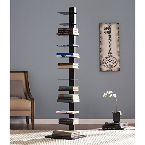 Southern Enterprises Spine Tower Shelf in Jet Black