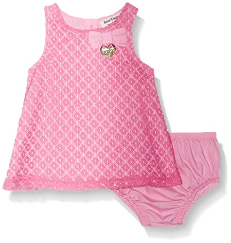 Juicy Couture Baby Girls' 2 Pieces Dress Set, Pink, 3/6M (Eyelet Dress Pink)