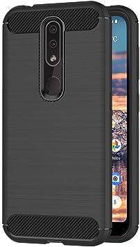 AICEK Funda Compatible Nokia 4.2, Negro Silicona Fundas para ...