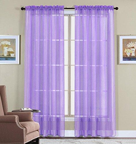 WPM 2 Piece Beautiful Sheer Window Elegance Curtains/drape/panels/treatment 60'w X 84'l (Lavender Purple)