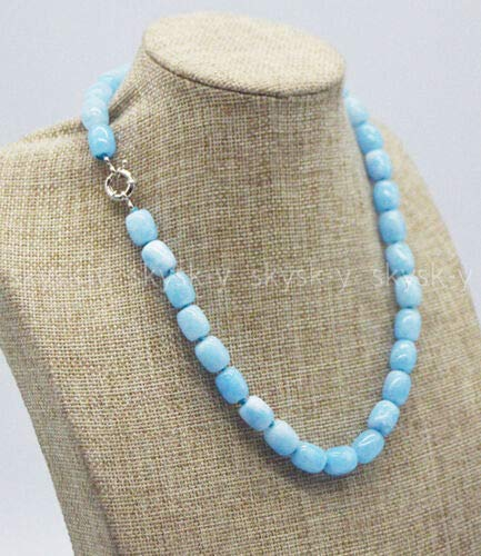 - FidgetKute Handmade Pretty 9x11mm Blue Aquamarine Cylinder Beads Gemstone Necklace 16-36'' 18