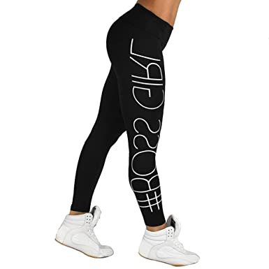 10749ae9e6eb26 WM & MW Athletic Leggings, Women's Boss Girl Letter Print Yoga Workout  Sports Pants Trouser