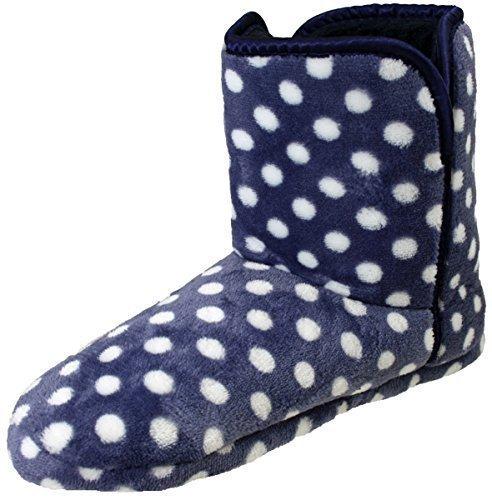 Cálido, Para Dama Estampado Leopardo / Neón Brillante Peludo / Bolso Botón De Madera Botas Tipo Pantufla 3- 8 Azul marino/Lunares