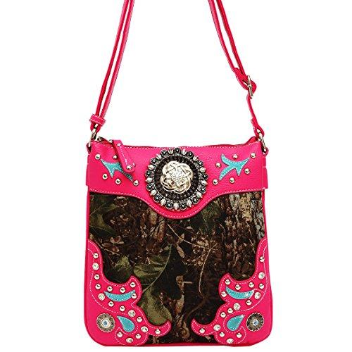 Best Hot Pink Camo Vegan Leather Western Purse Crossbody Messenger Swingpack Bag Popular Top Birthday Gift Idea Grandma Sister Girl Teen Unique Mother Day Nurse Graduation Hot Summer 2017