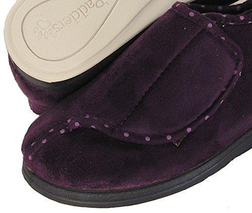 Padders Womens Cherish Soft Microfiber Velcro Closure Bootie Slipper (Purple) Extra Wide lL2OJabVzn